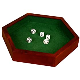 Wood Hexagonal 12 inch Dice Tray with 5 Dice