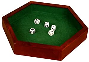 """Wood Hexagonal 12"""" Dice Tray with 5 Dice"""