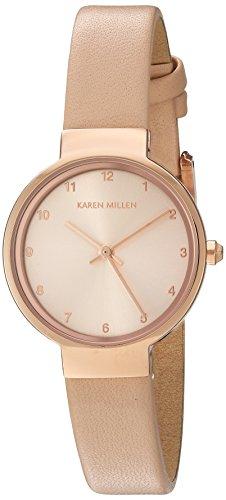 Karen Millen-Bracciale concatenato dicono le donne s Orologio al quarzo, con Display analogico e cinturino in pelle color crema KM131CRG