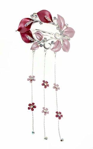 Pink Dangling Wreath Brooch Haiclip Jewelry