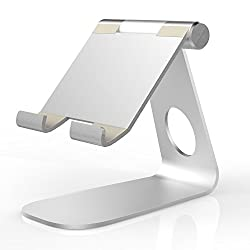 Tablet Stand, MoKo Universal 210 Degree Rotatable Solid Aluminum Alloy Metal Mobile Phone Desktop Holder Cradle for iPad mini 4, iPhone 6s, 6s Plus and Other Tablets, SILVER