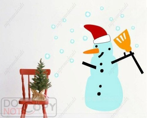 Christmas decals-Snow man - Removable vinyl art