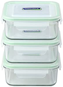 Kinetic Go Green Glasslock Series Square 30-Ounce Food Storage Container Set with Free Lids, 6-Piece