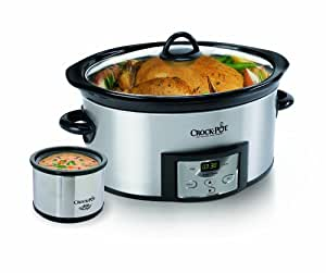 Crock-Pot SCCPVC605-S 6-Quart Countdown Oval Slow Cooker with Dipper, Stainless Steel