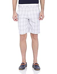 Blue Wave White Grey Checkered Casual Shorts For Men