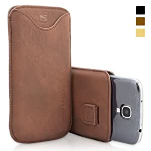 Snugg Galaxy S4 Leather Case in Distressed Brown - Pouch with Card Slot, Elastic Pull Strap and Premium Nubuck Fibre Interior for the Samsung Galaxy S4 With Free Set of Screen Protectors