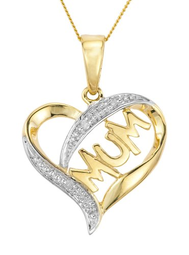 9ct Yellow Gold Ladies' Diamond Set Open Heart Mum Pendant with 46cm Curb Chain