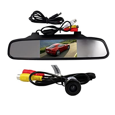 4.3 Inch TFT LCD Rearview Mirror Monitor And Waterproof Car Rear View Camera Wired Wide Viewing 135 Degree