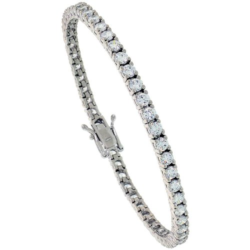 Classic Sterling Silver 5.6 carat size (3 mm) CZ Tennis Bracelet, 7 inches long