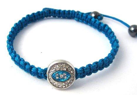 Blue Lace Style Iced Out Eye Bracelet with Beaded Disco Balls Macrame Shamballah