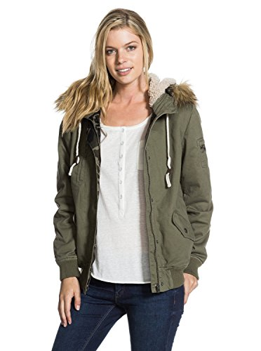 Roxy Juniors Locked Out Holiday Hooded Jacket, Recruit Olive, Small
