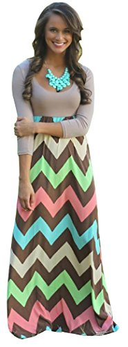 Blorse Best Day Long Sleeve Bohemian Printed Round Neck Maxi Dress (L, Flesh)