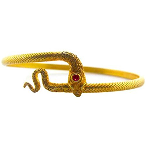 Yellow Gold Plated Sterling Silver Ruby Naga Bracelet