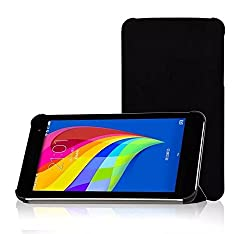 SPL Premium Quality Artificial PU Leather folded Book Stand Cover + { Free Screen Guard } For Huawei Mediapad 7 Youth 2 Tablet 7-inch -Black