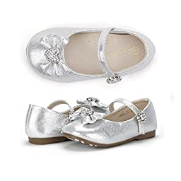 Dream Pairs ANGEL-22 Mary Jane Front Bow Heart Rhinestone Buckle Ballerina Flat (Toddler/ Little Girl) New, Silver, 9 M US Toddler