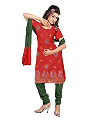 Lamiya Women's Unstitched Salwar Suit (PIC5012_Red_Free Size)