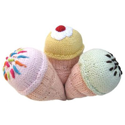 Yellow Label Kids Ice Cream Knitted Baby Rattles (Set of 3)