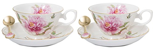 * Pink Carnation Coffee Tea Cups Saucers And Spoons Set Of 2, New Bone China