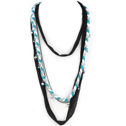 Soft Braided Fabric Layered Necklace - Crystal Cut Shimmery Beads - Brass Chain Link - Turquoise Gray White & Black
