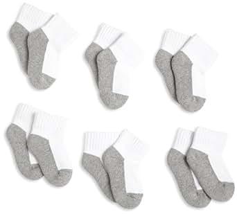 Jefferies Socks, Llc Unisex-baby Newborn 6 Pack Seamless Sport Half Cushion Quarter Socks, White/Grey, 1-3 Months (Shoe Size 0-1)