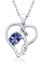 0.46 Ct Oval Blue Tanzanite White Diamond 14K White Gold Pendant