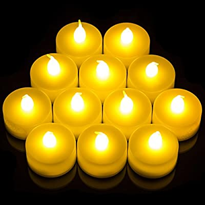 Babz® 12 Flickering Candle Set Battery Operated - Flickers Like a Real Candle Battery Operated Tealight Candles Flameless Candle Wedding Tea Light by Babz