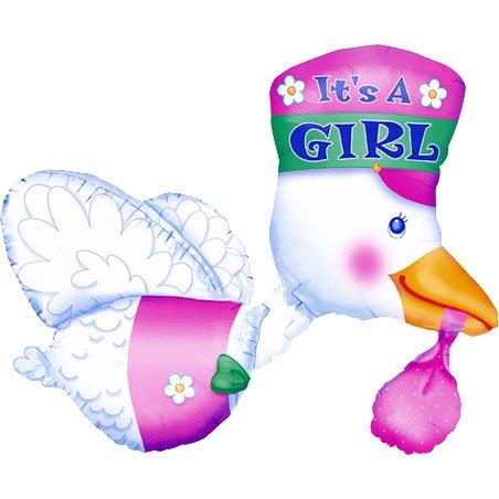 "Pink It'S A Girl Stork 32"" Mylar Balloon"