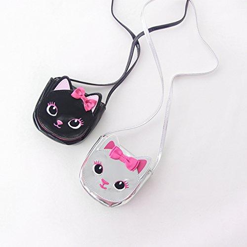 子ども財布 幼児 ジュニア 猫財布 女の子 レディース ミニポシェット 小さい財布 小物入れ 手のひらサイズ かわいいお財布 お洒落な財布 Cat Wallet (Black(ブラック))