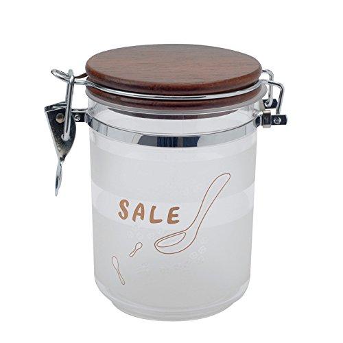 Salz Vorratsdose, Satiniert, HolzDeckel, 0,72 lt.