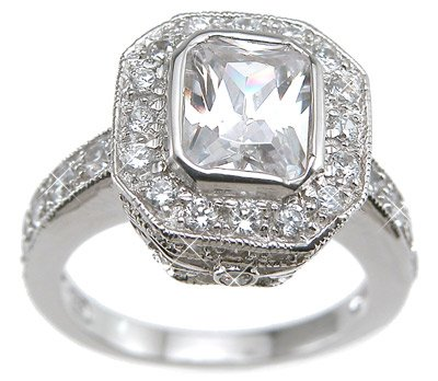 Sterling Silver Cubic Zirconia CZ Antique Style Promise Engagement Ring Set Size 8