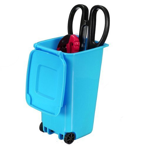 ANKKO Creative Trash Can Design Recycling Mini Dustbin Storage Pen Pencil Holder Pen Jar Pot (Blue) (Funny Trash Can compare prices)