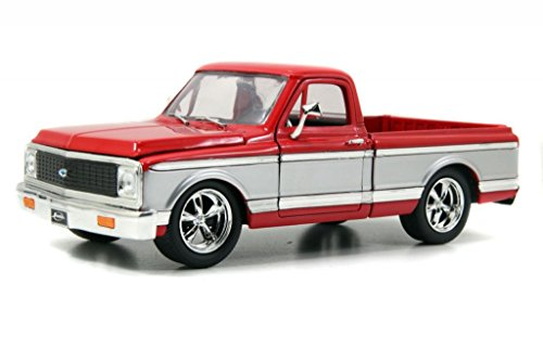 Jada 1972 Chevy Cheyenne Pickup Truck 1:24 Scale Diecast Model Car Red/Silver (Die Cast 1 24 Truck compare prices)