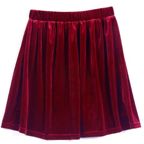 Gleader Vintage gonna a pieghe a alta vita corta e morbida linea A velluto elastica pattinatore - Rosso