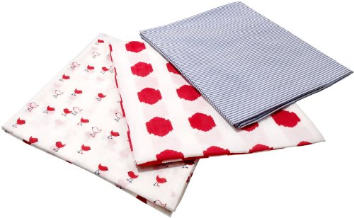 Masala Baby 3-Piece Chickies Swaddle Wrap Set, Red