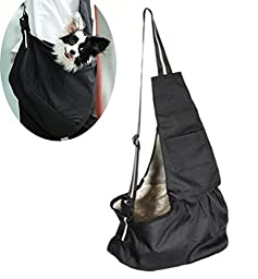 T Tocas(TM) Little Dog Puppy Hand-free Sling Carrier Shoulder Bag, Older Pets Cat Kitten Travel Pouch, Washable Oxford Cloth (Small, Black)