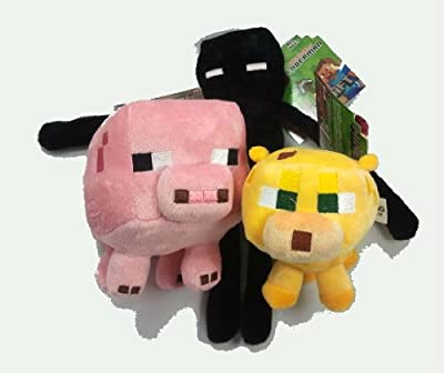 Official Minecraft Overworld 3 Piece Set Baby Ocelot Enderman Baby Pig from Minecraft