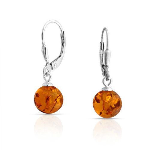 Bling Jewelry Gemstone Honey Amber Bead 925 Silver Dangle Leverback Earrings 8mm