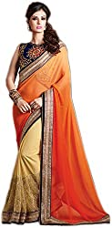 Lebaas Partywear Net and Georgette Orange and Beige Designer Saree for Women (With Heavy Discount and Sale Price)