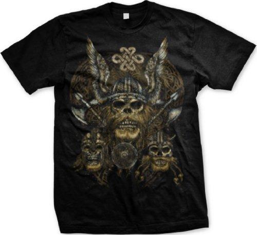 Celtic Viking Skulls Mens Tattoo T-Shirt, Viking Skulls With Axes Celtic Style Design Mens Tee, X-Large, Black