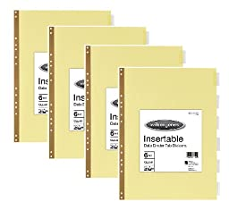 LOT: 4 Packages of Wilson Jones Insertable Dividers for Data Binders - 6 Tab Set - Clear Tabs on Buff Paper - 14 x 11