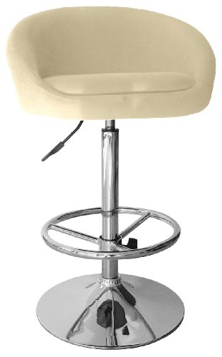 Premier Housewares Adjustable Bar Stool with Fabric Seat and Chrome Footrest and Base, Set of 2, 99 x 55 x 40 cm, Cream