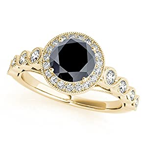 1.35 Ct. Ttw Black Diamond Ring Crafted In 14k Solid Yellow Gold
