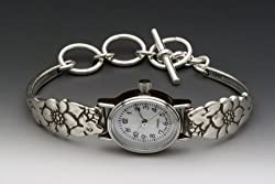 Silver Spoon Floral Petite Woman's Oval Vintage Watch Petal