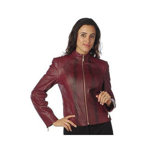 Lamb Leather Jacket - Red Pamela McCoy Zip Front Animal Print Insets ...