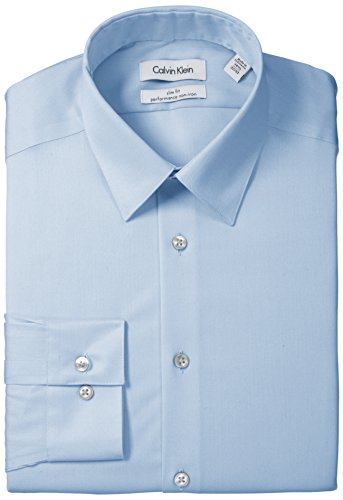 "Calvin Klein Men's Slim Fit Non-Iron Solid Herringbone Shirt, Blue, 15.5"" Neck 34""-35"" Sleeve"