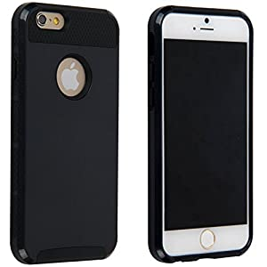 niceeshop(TM) Black Brand New 2 in 1 Silicone PC Case Cover for iPhone 6 (4.7 Inch) With Screen Protector(3pcs)