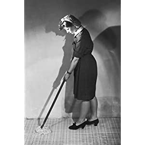 mopping linoleum 1940s   art