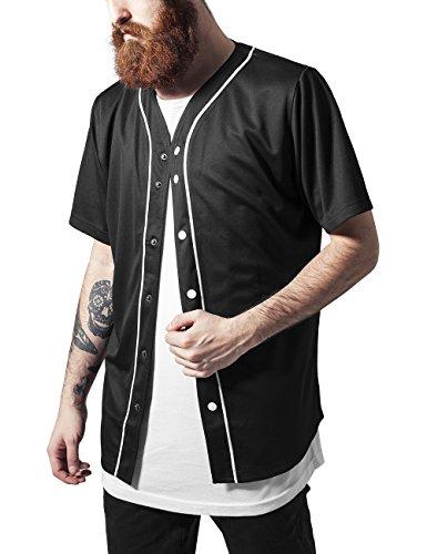 Urban Classics Baseball Mesh Jersey-T-shirt  Uomo, Mehrfarbig (blk/wht 50), Medium