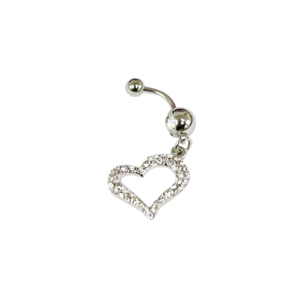 Cubic Zirconia Gemstone Silhouette Heart Belly Ring Navel Ring