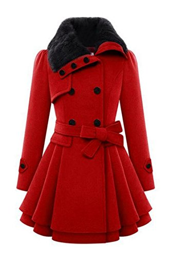Zeagoo Women Long Sleeve Faux Fur Lapel Double-Breasted Thick Wool Coat